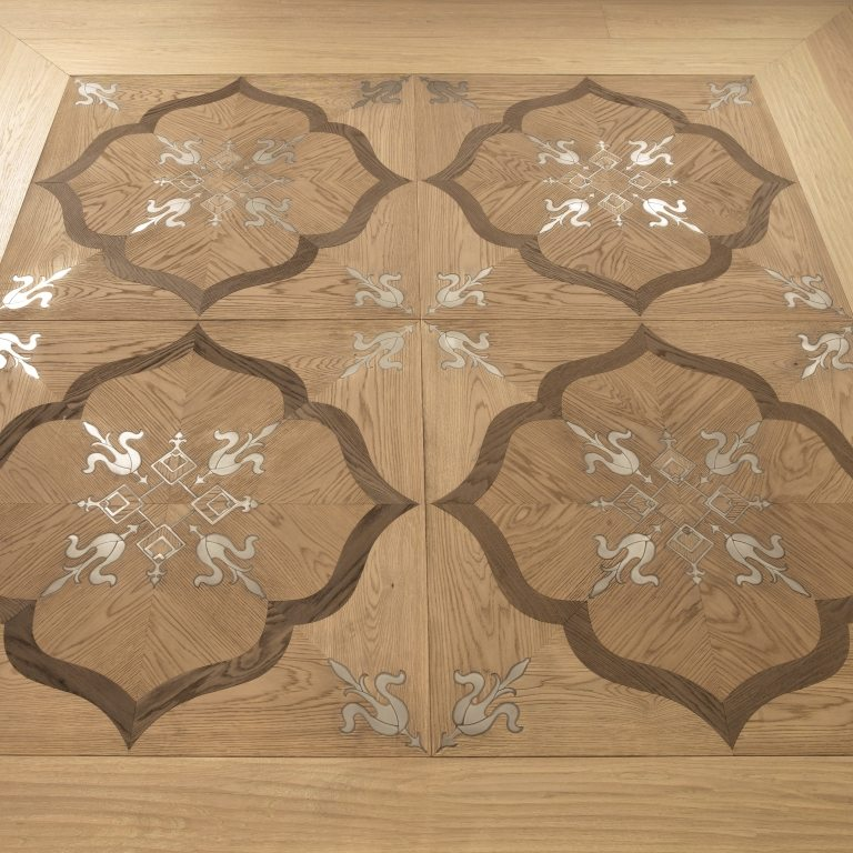 Fenice Bespoke panel Oak with Smoked Oak and metal inlay